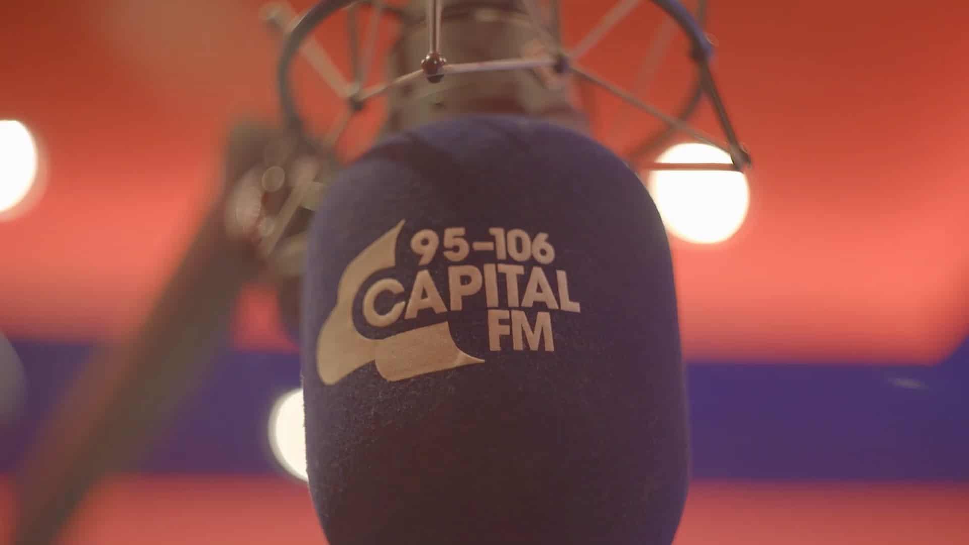 Capital microphone in studio