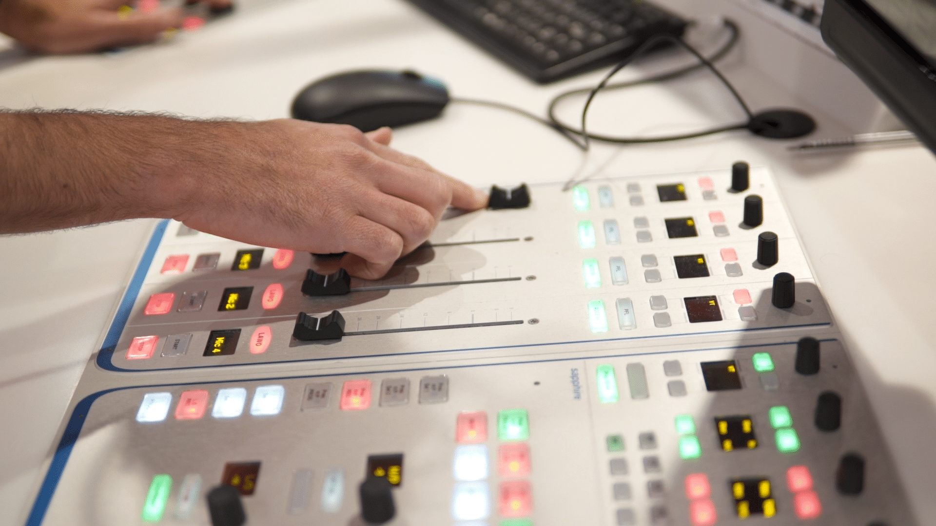 Mixing desk in studio